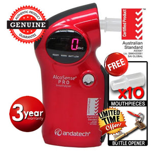 AlcoSense - Pro Red Personal Semiconductor Breathalyser Andatech
