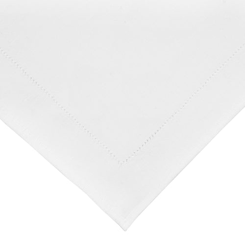 White Hemstich Linen Napkins - Set of 8