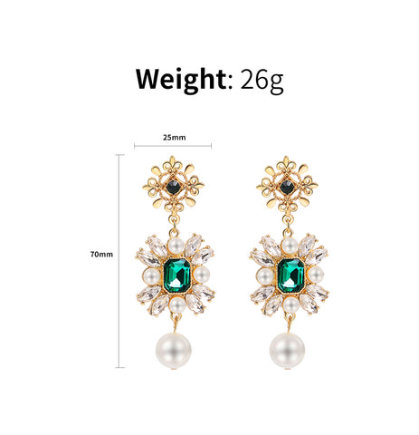 Rhinestone Green Drop Earrings