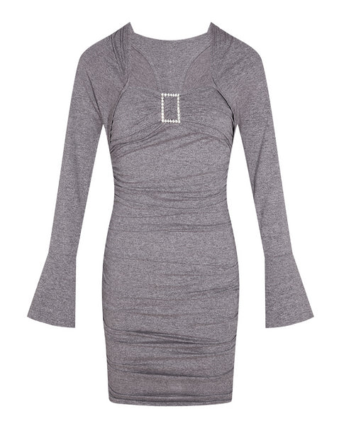 Grey Square Collar Full Sleeve Sheath Dress S to L
