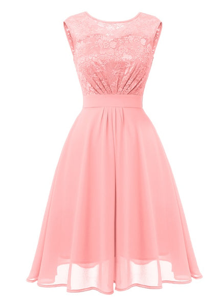 O-Neck Lace Upper A-line Prom Dress  - Zaida Fashions