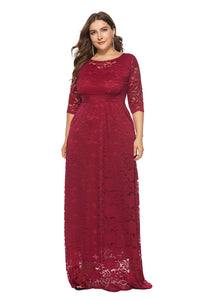 Plus Size Full Red Lace Maxi Dress with 3/4 Sleeves  - Zaida Fashions