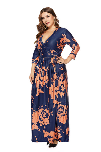 Plus Size Long Sleeve Blue Floral Wrap Maxi Dress  - Zaida Fashions