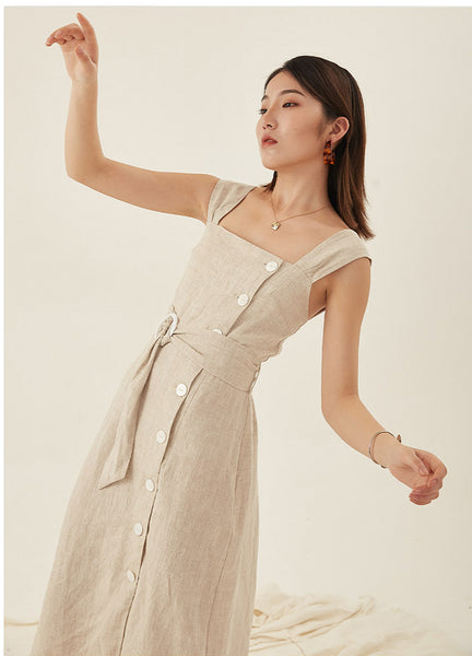 Sleeveless Linen Midi Casual Dress S to L