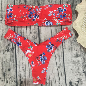 Two-Piece Floral Ruffles Swimwear  - Zaida Fashions