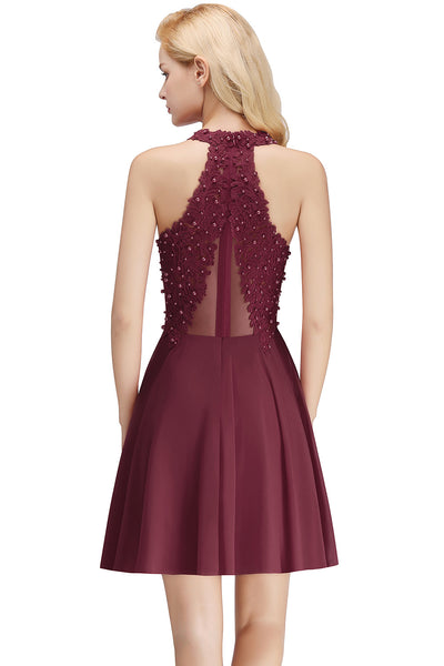 Sleeveless Knee Length Red and Burgundy Lace Graduation Dress  - Zaida Fashions