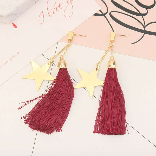 Silk Thread Dangle Earrings  - Zaida Fashions