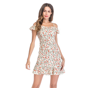 Women Floral Red Chiffon Casual Dress  - Zaida Fashions