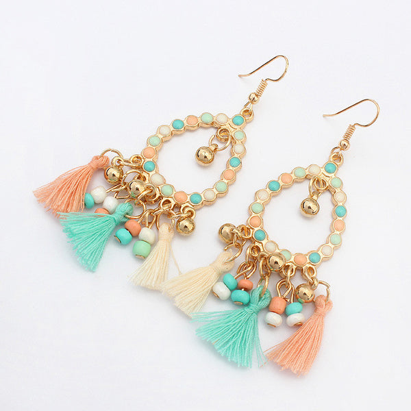 Vintage Style Tassel Dangle Earrings  - Zaida Fashions