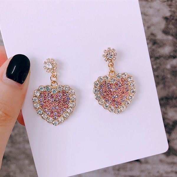 Rhinestone Heart Earrings  - Zaida Fashions