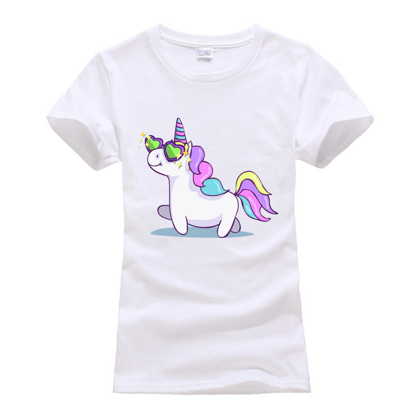 Short Sleeve O-neck Unicorn Tops  - Zaida Fashions