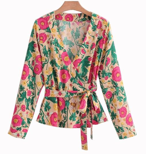 Long Sleeve Summer V neck Floral Blouse  - Zaida Fashions