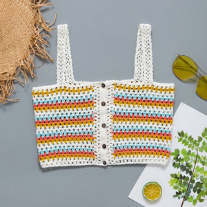 White Knitted Beach Tops  - Zaida Fashions