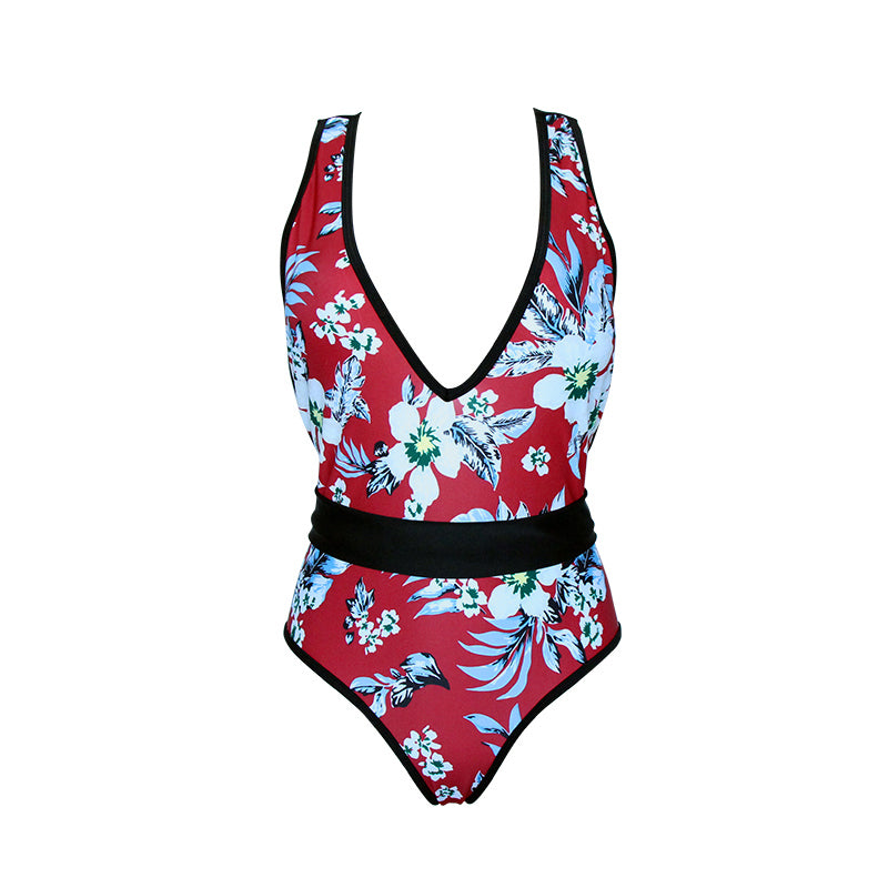 Red Floral One Piece Swimwear  - Zaida Fashions