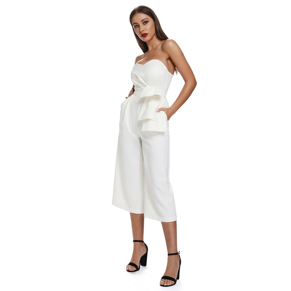 Sleeveless Ankle Length Cotton Linen Jumpsuits  - Zaida Fashions