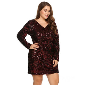 d3e2bd99fc1a2 Plus Size V-Neck Long Sleeve Sequined Party Dress - Zaida Fashions