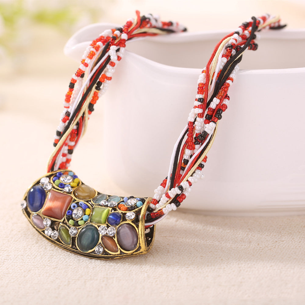 Colorful Boho Ethnic Crystal Necklaces  - Zaida Fashions
