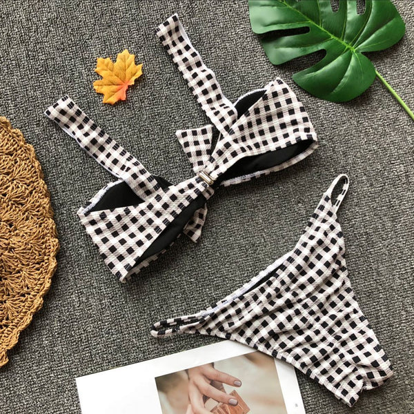 Black and White Ruffles Check Swimwear with Bow  - Zaida Fashions