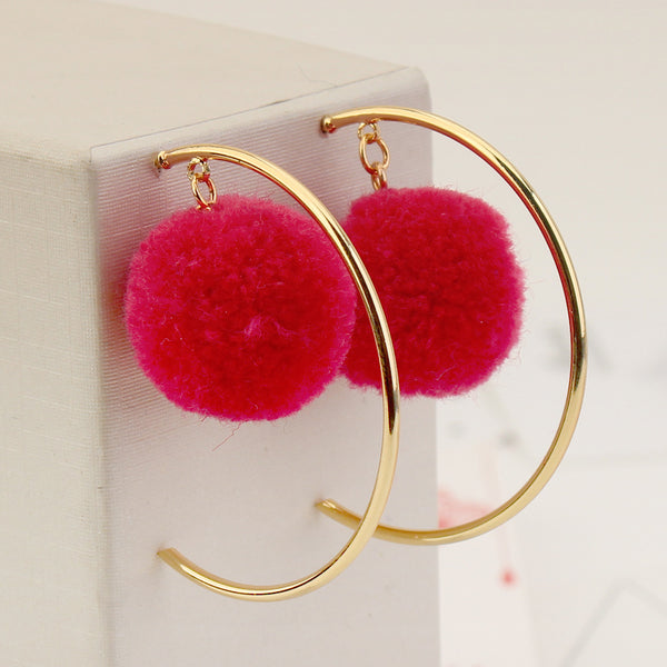 Pom Pom Tassel Drop Earrings  - Zaida Fashions