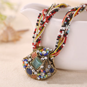 Colorful Ethnic Resin Crystal Necklaces  - Zaida Fashions
