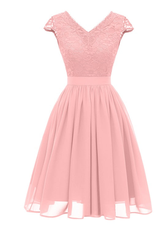 V-Neck Lace Upper A-line Prom Dress  - Zaida Fashions