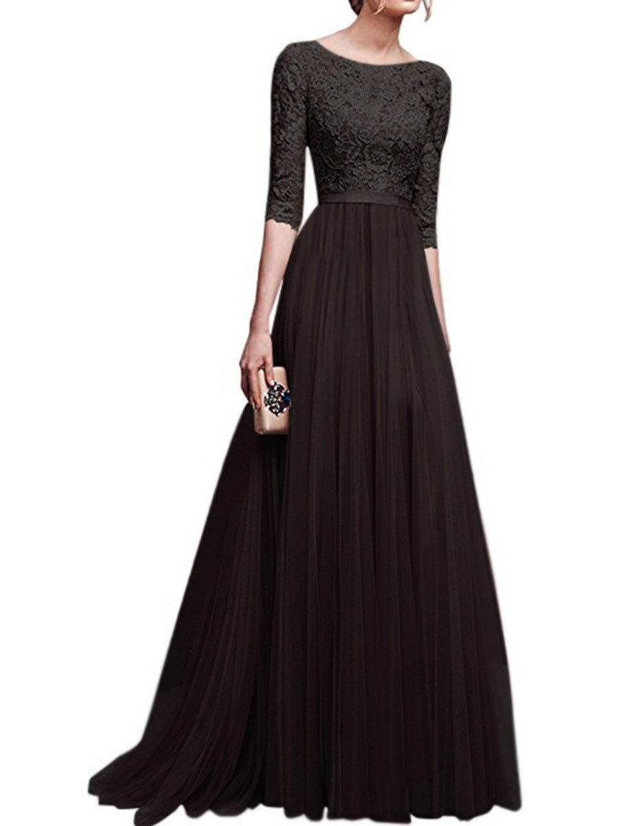Premium Lace Evening Dress with 1/2 Sleeves  - Zaida Fashions