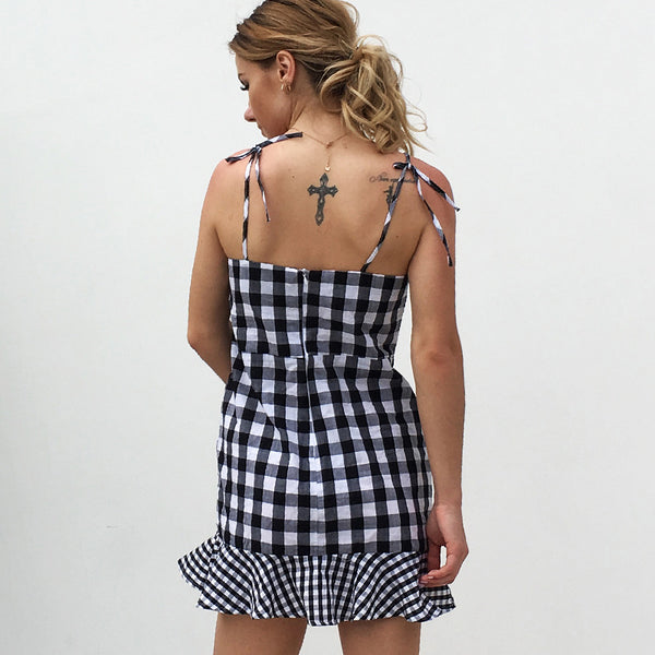 Ana Plaid Checkered Short Dress  - Zaida Fashions