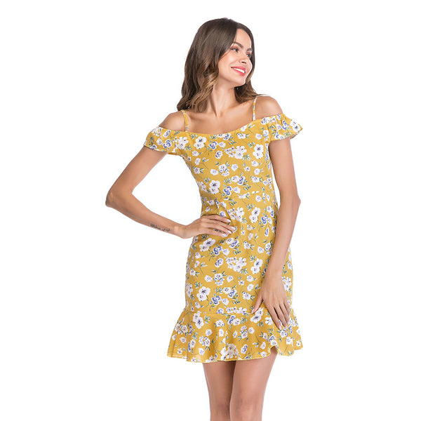 Women Floral Yellow Chiffon Casual Dress  - Zaida Fashions