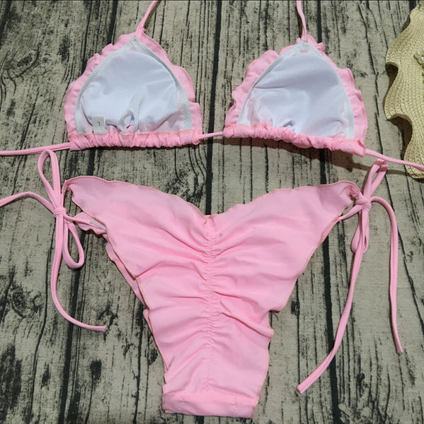 Pink Two-Piece Sheer Ruffles Swimwear  - Zaida Fashions