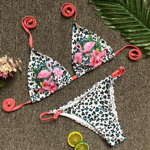 Pink Flamingo Leopard Print Two-Piece Swimwear  - Zaida Fashions