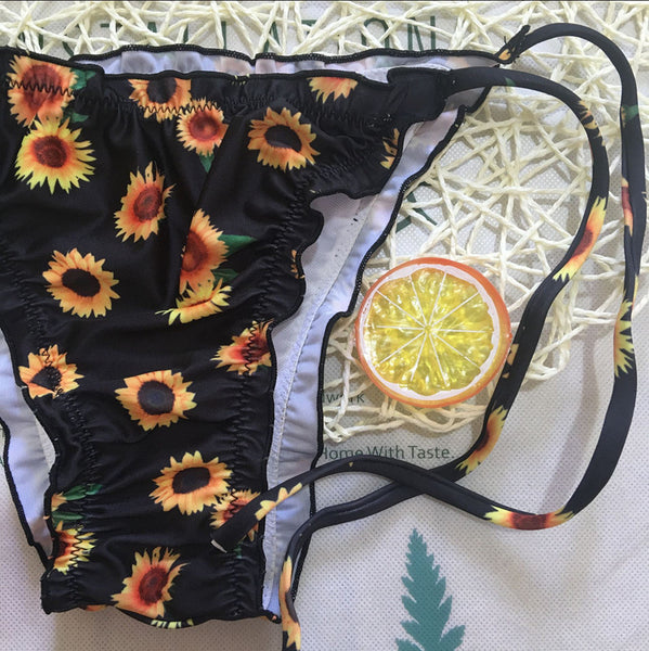 Sunflower Ruffles Black Bikini Top and Side-Tied Bottom  - Zaida Fashions