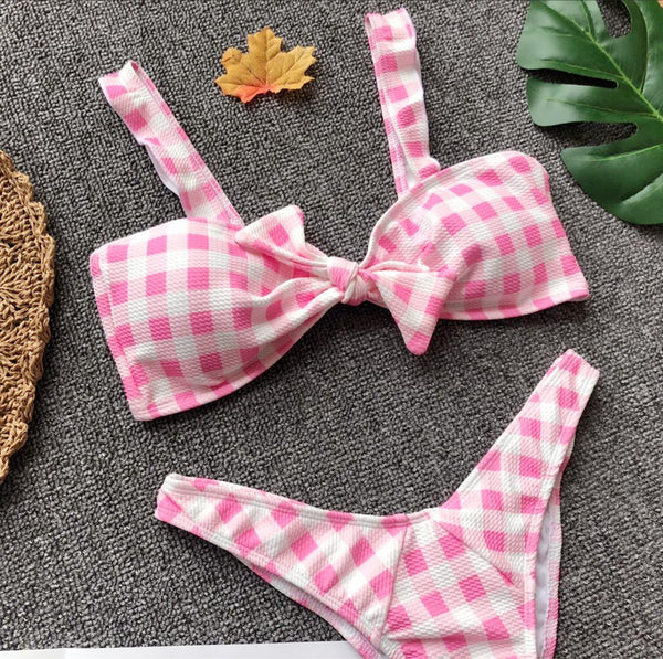 Pink Checked Ruffles Swimwear with Bowknot  - Zaida Fashions