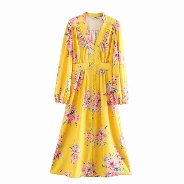 Yellow Floral Print V Neck Long Sleeve Midi Dress S to L