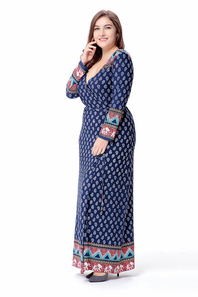 Plus Size Retro Long Wrap Dress with Belt  - Zaida Fashions