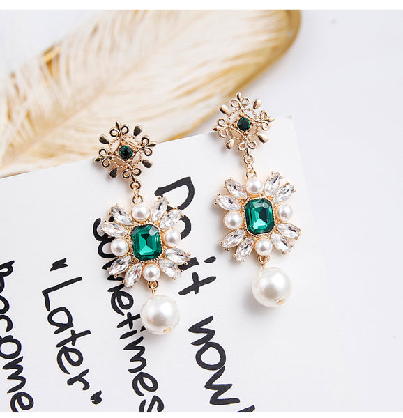 Green Rhinestone Charm Pearl Pendant Drop Earrings  - Zaida Fashions