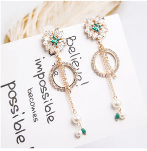 Rhinestone Tassel Pearl Pendant Drop Earrings  - Zaida Fashions