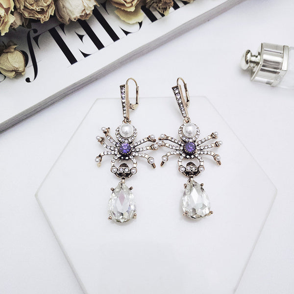 Rhinestone Spider Drop Earrings  - Zaida Fashions