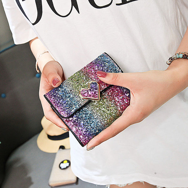 Multicolor Sequined Short Wallet  - Zaida Fashions