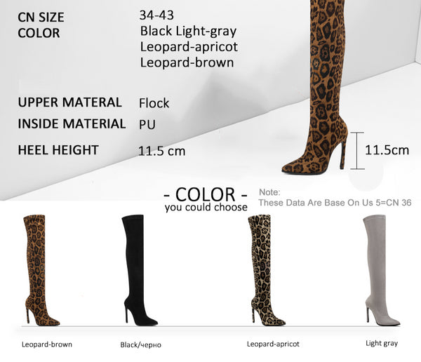 Leopard Print Pointed Toe Over The Knee High Heel Winter Boots Size 3 to 12  - Zaida Fashions