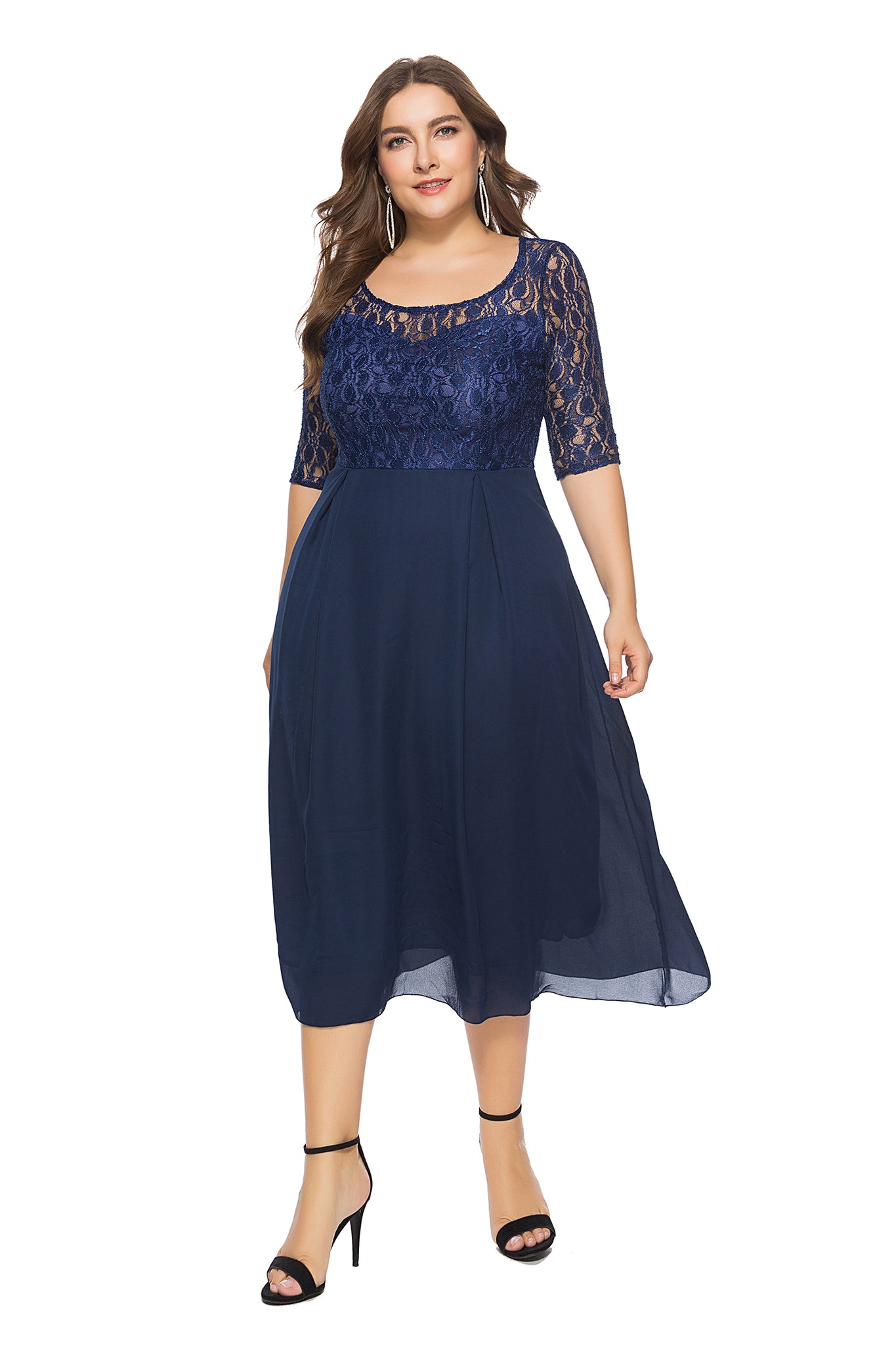 Plus Size Blue Lace Dress with 3/4 Sleeves  - Zaida Fashions
