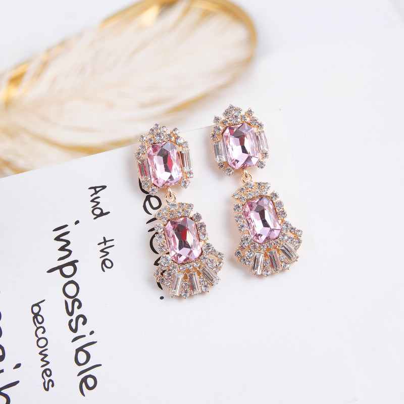 Pink Rhinestone Drop Earrings  - Zaida Fashions