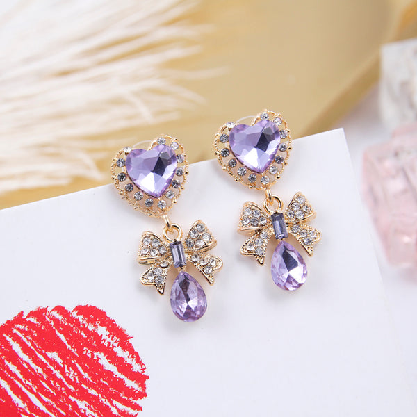 Luxury Love Heart Rhinestone Bow Drop Earrings  - Zaida Fashions