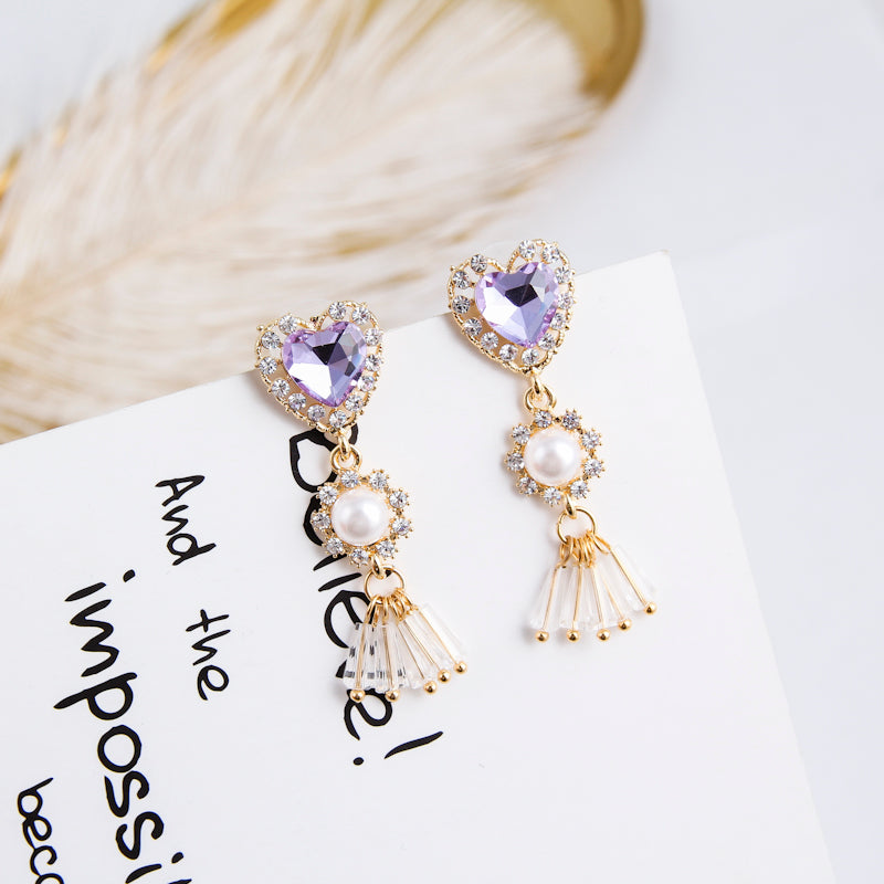 Purple Rhinestone Pearl Crystal Tassel Drop Earrings  - Zaida Fashions