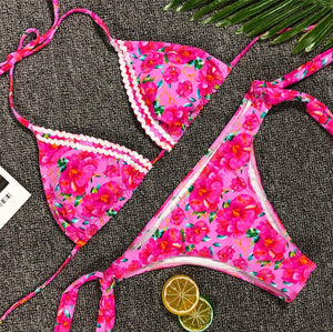 Romantic Flower Side Tied Swimwear  - Zaida Fashions
