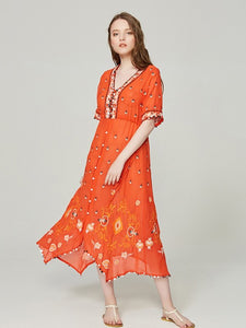 Floral Embroidered Half Sleeve V Neck Sequin Boho Maxi Dress S to XL