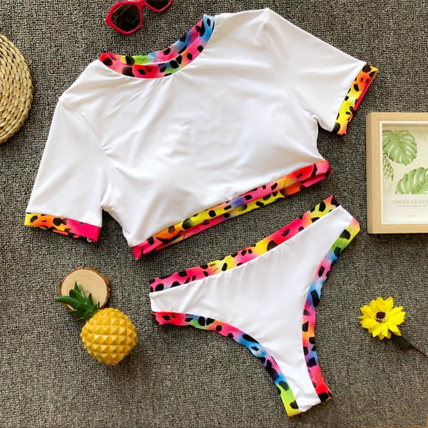 High Waist Mixcolor Two-Piece Swimwear with Short Sleeves  - Zaida Fashions