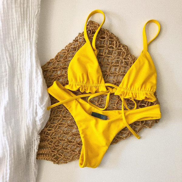 Yellow Sheer Halter Bikini Top and Little Cover Bottom  - Zaida Fashions