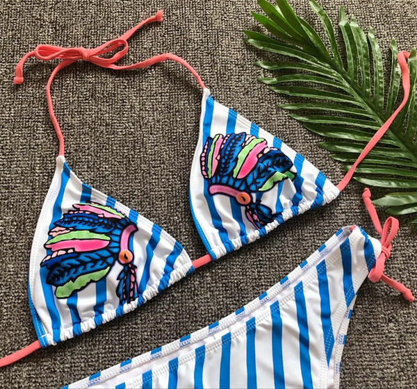 Tribal Headgear Print Two-Piece Swimwear  - Zaida Fashions