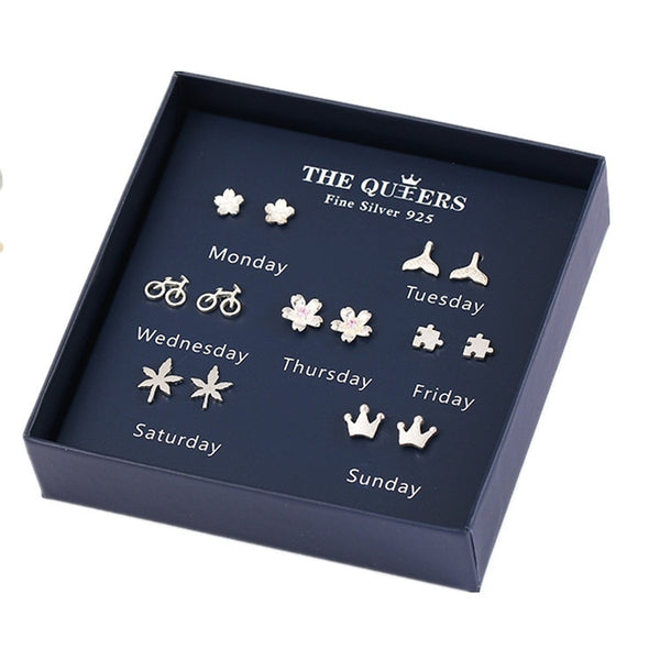 925 Sterling Silver 7pcs/set Stud Earrings with Gifts Box  - Zaida Fashions