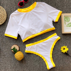 High Waist Yellow Two-Piece Swimwear with Short Sleeves  - Zaida Fashions